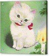 Christmas Illustration 1245 - Vintage Christmas Cards - Little Dog Near To Christmas Candle Acrylic Print
