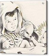 Christmas Illustration 1248 - Vintage Christmas Cards - Infant Jesus On Crib Acrylic Print