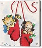 Christmas Illustration 1253 - Vintage Christmas Cards - Little Dog And Kitten Acrylic Print