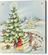 Christmas Illustration 15 - Winter Ladscape During Christmas Time Acrylic Print