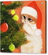 Christmas Kitty Acrylic Print by Anastasiya Malakhova