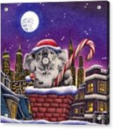 Christmas Koala In Chimney Acrylic Print