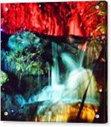 Christmas Lights At The Waterfall Acrylic Print