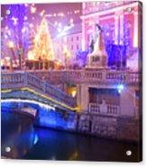 Christmas Lights In Preseren Square In Ljubljana Acrylic Print