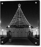 Christmas Lights On Manhattan Pier B And W Acrylic Print