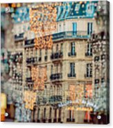 Christmas Lights Paris At Twilight Acrylic Print