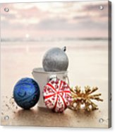 Christmas Ornaments On The Beach Acrylic Print