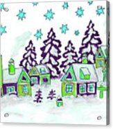 Christmas Picture In Green And Blue Colours Acrylic Print