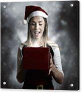 Christmas Present Girl Opening Magic Gift Box Acrylic Print