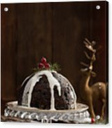 Christmas Pudding With Cream Acrylic Print