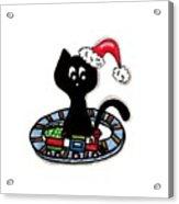 Christmas Train Kitty Cat Acrylic Print