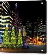 Christmas Tree On New Year's Eve In The Street Of A Big City Acrylic Print