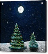 Christmas Trees In The Moonlight Acrylic Print
