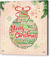 Christmas Words Ornament Acrylic Print