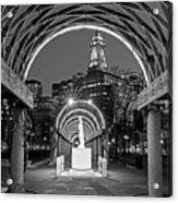 Christopher Columbus Park Boston Ma Trellis Statue Black And White Acrylic Print