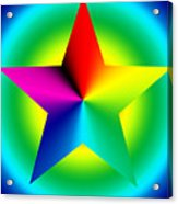 Chromatic Star With Ring Gradient Acrylic Print by Eric Edelman