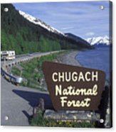 Chugach National Forest Sign And Scenic Acrylic Print