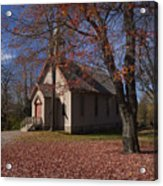 Church And Fall Foliage In Eckley Village Acrylic Print