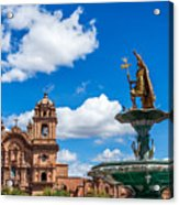 Church And Fountain In Cusco Peru Acrylic Print