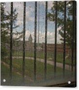 Church In Prison Yard Through Bars Acrylic Print