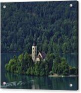 Church Of Mary On Bled Island Acrylic Print