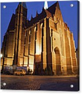 Church Of The Holy Cross By Night In Wroclaw Acrylic Print