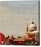 Church Of The Redentore In Venice With Flag Of Venice Acrylic Print