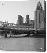 Cincinnati And Bridge Black And White  Acrylic Print
