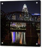 Cincinnati Bridge At Night  Acrylic Print