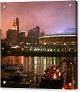Red Sunset Sky In Cincinnati Ohio Acrylic Print