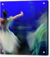 Cinderella And Fairy Godmother Dancing With Green Fairies In Bal Acrylic Print