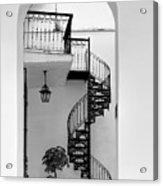 Circular Staircase In Black And White Acrylic Print