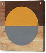 Cirkel Yellow and Grey- Art by Linda Woods Acrylic Print