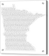 Cities And Towns In Minnesota Black Acrylic Print