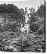 Cittenango Falls Tilt Shift Panorama Bw Acrylic Print