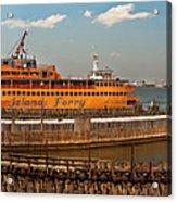 City - Ny - The Staten Island Ferry - Panorama Acrylic Print