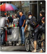 City - Ny Delancy St - Getting A Snowcone  Acrylic Print