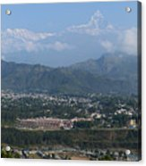 City And Annapurna  View  Acrylic Print by Atul Daimari