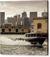 City Bay Police Boat - Color  Acrylic Print