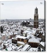 City Centre Of Utrecht With The Dom Tower In Winter Acrylic Print