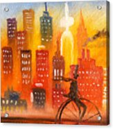 City Cycle In The Warm Evening Acrylic Print