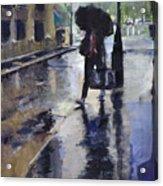City Evening Rain Acrylic Print