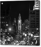 City Hall - Black And White At Night Acrylic Print