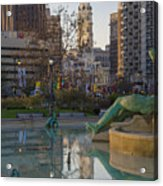 City Hall Reflecting In Swann Fountain Acrylic Print