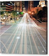 City Light Trails On Street In Downtown Acrylic Print by Eric Lo