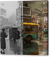City - Ny - Times Square On A Rainy Day 1943 Side By Side Acrylic Print
