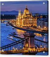 City Of Budapest At Twilight Acrylic Print