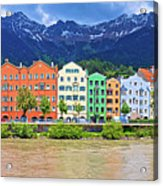City Of Innsbruck Colorful Inn River Waterfront Panorama Acrylic Print