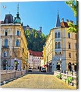 City Of Ljubljana View From Tromostovje Bridge Acrylic Print