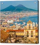 City Of Naples With Mt. Vesuvius Acrylic Print